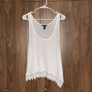 Forever 21 White Sheer Crotchet Tank Top NWT